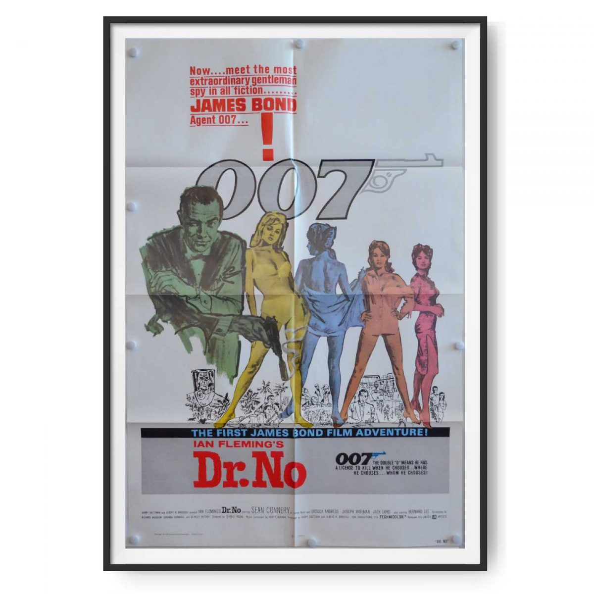 Picture shows an up close image of the US film poster for the BOnd movie Dr No