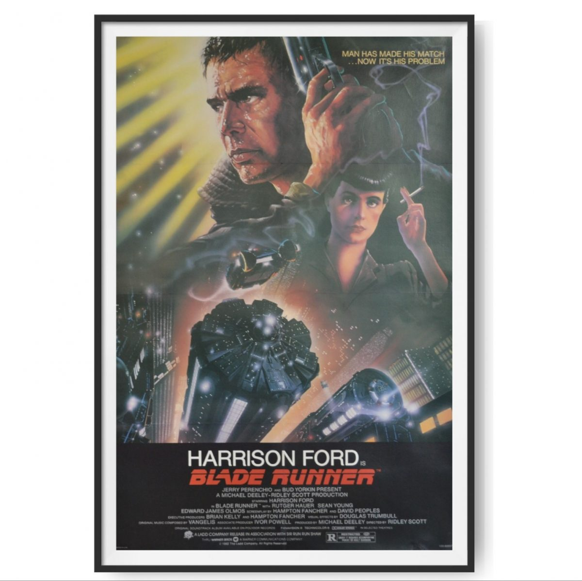 This is a US One Sheet poster for the film Blade Runner. The poster shows Harrison Ford.