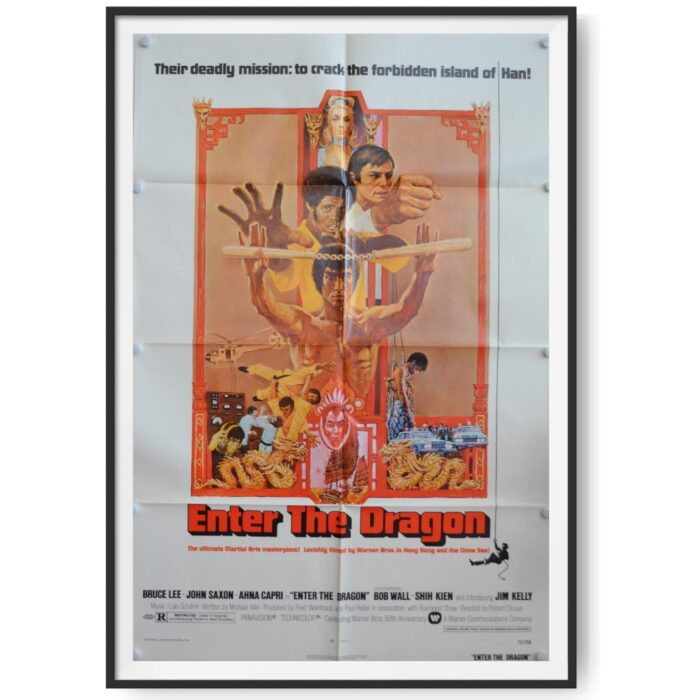 A photo of a US Cinema Poster for the Bruce Lee Film - 'Enter The Dragon'