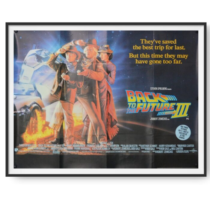 This image for the film Back to the Future 3 shows Marty, Doc and the famous DeLorean time machine.