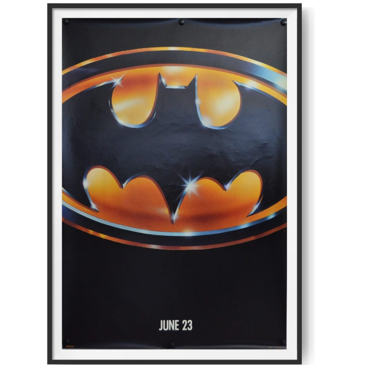 This original US cinema poster shows the iconic Batman logo used in the 1989 version of the film, starring Michael Keaton and Jack Nicholson.