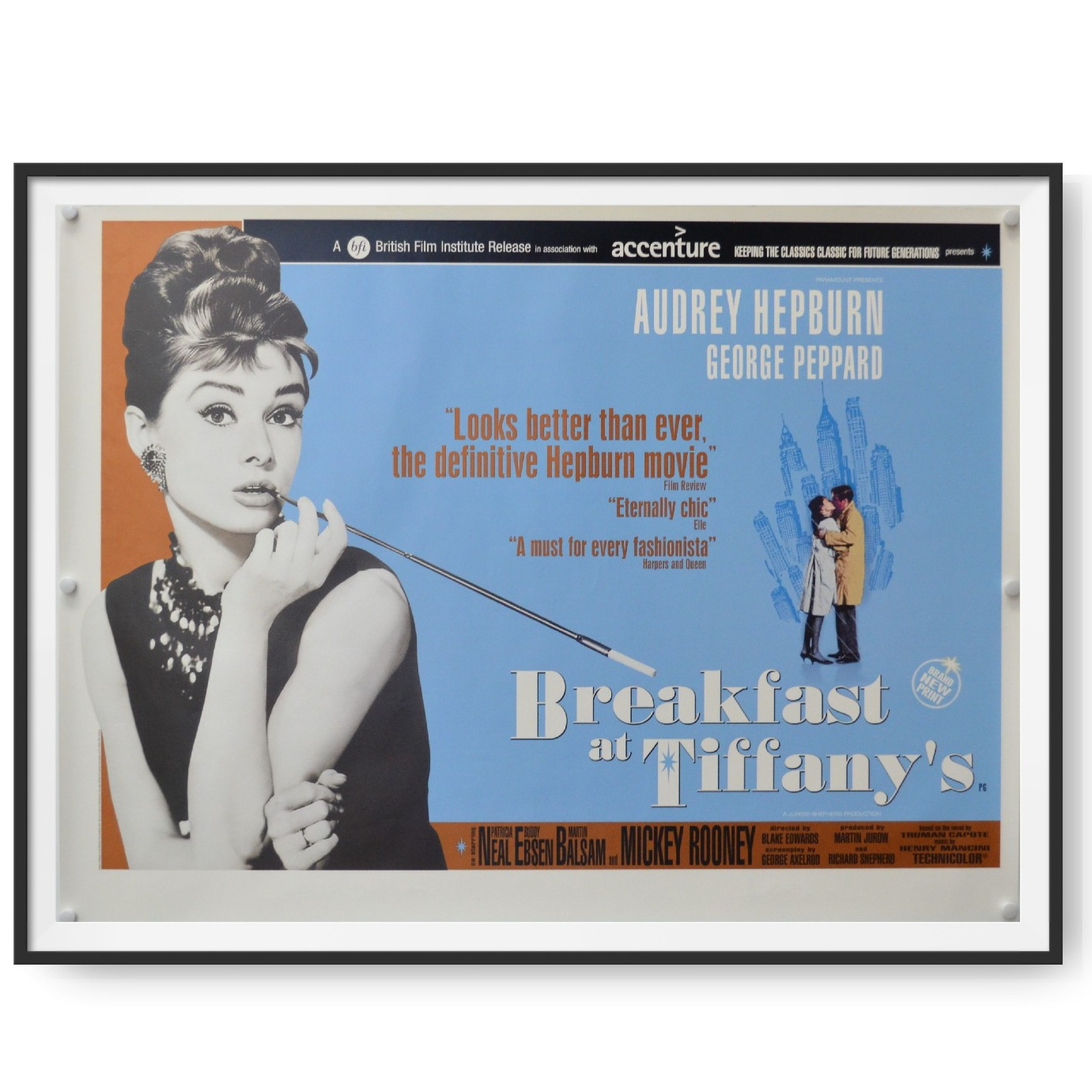 This is framed UK quad poster for a 2001 rerelease of Breakfast at Tiffany's. Audrey Hepburn features prominently in the image.