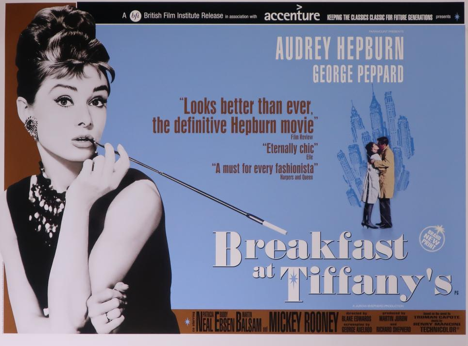 This is a quad poster for a UK release of the film 'Breakfast at Tiffany's'. Audrey Hepburn starts in the lead role.