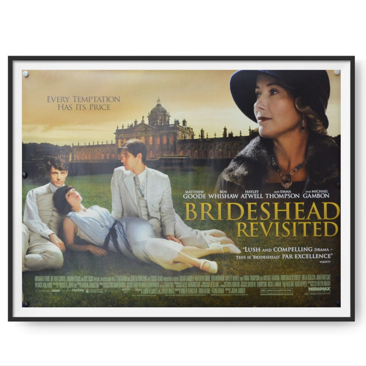 This poster shows 3 young people lounging on a lawn and a stately home features in the background.