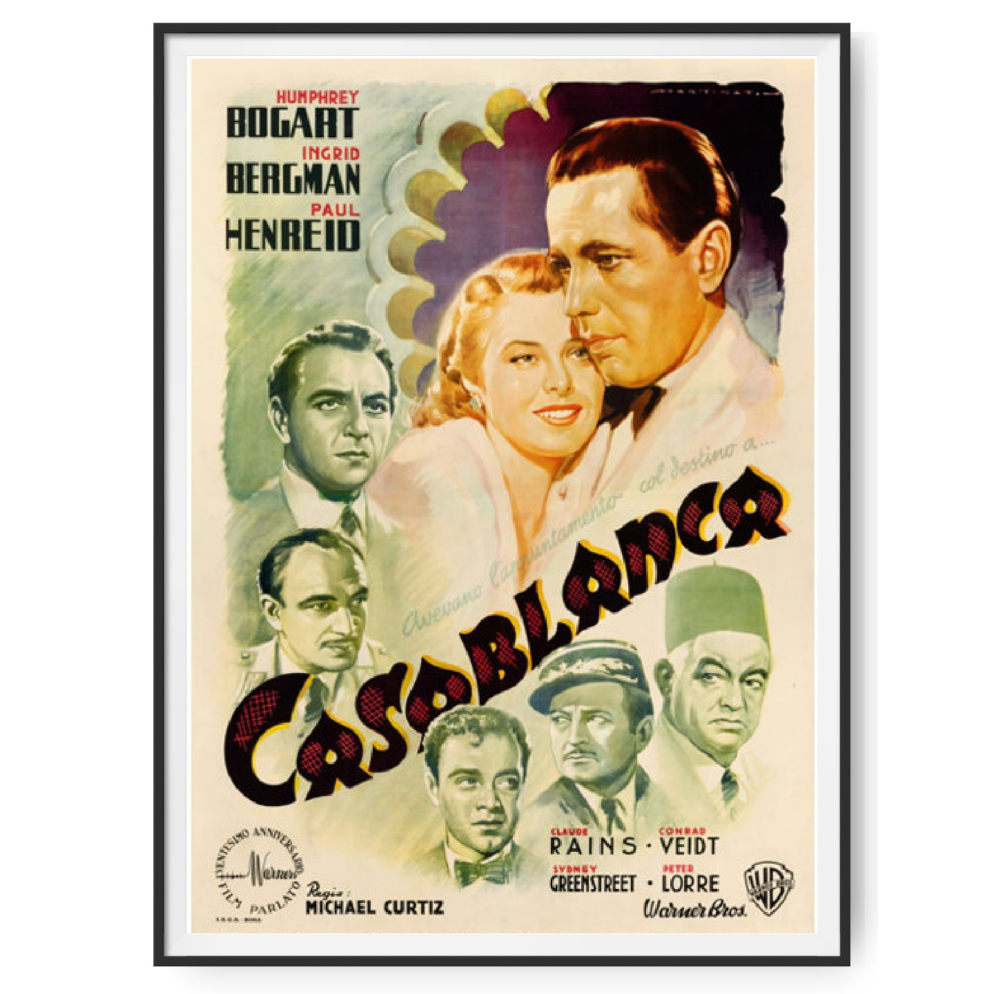 An Italian 4 Foglio poster for the movie Casablanca which sold at auction for over a half a million USD