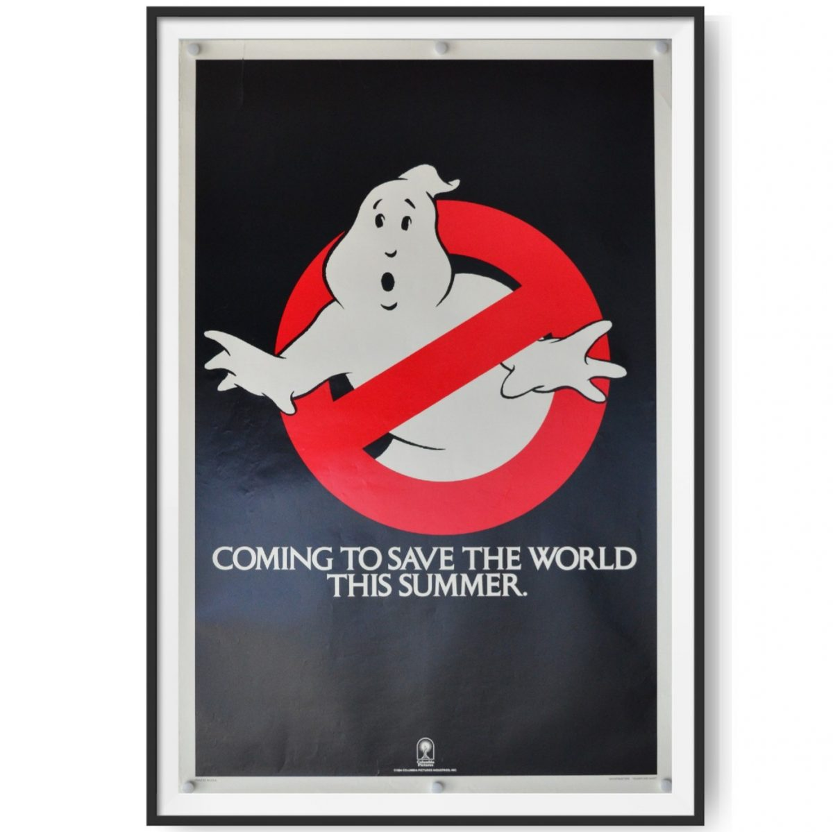 This is a framed advance US One Sheet poster for the 1989 film Ghostbusters. The poster features the famous Ghostbusters Logo with a 'No Ghost' sign.