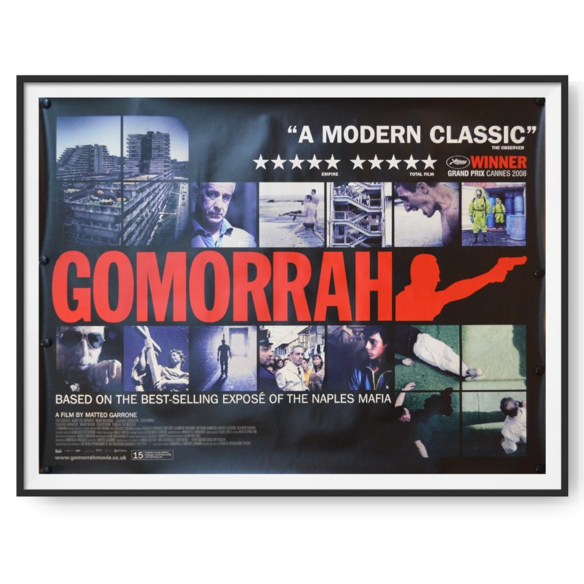 This poster features the word 'Gomorrah' in red letters and features images from the film.