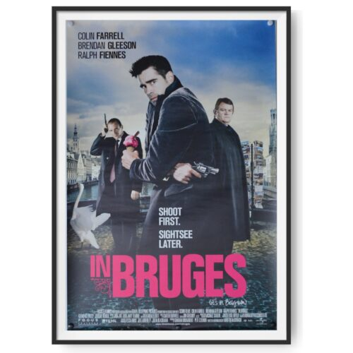 This poster for the film In Bruges shows Colin Farrel, Ralph Fiennes and Brendan Gleeson