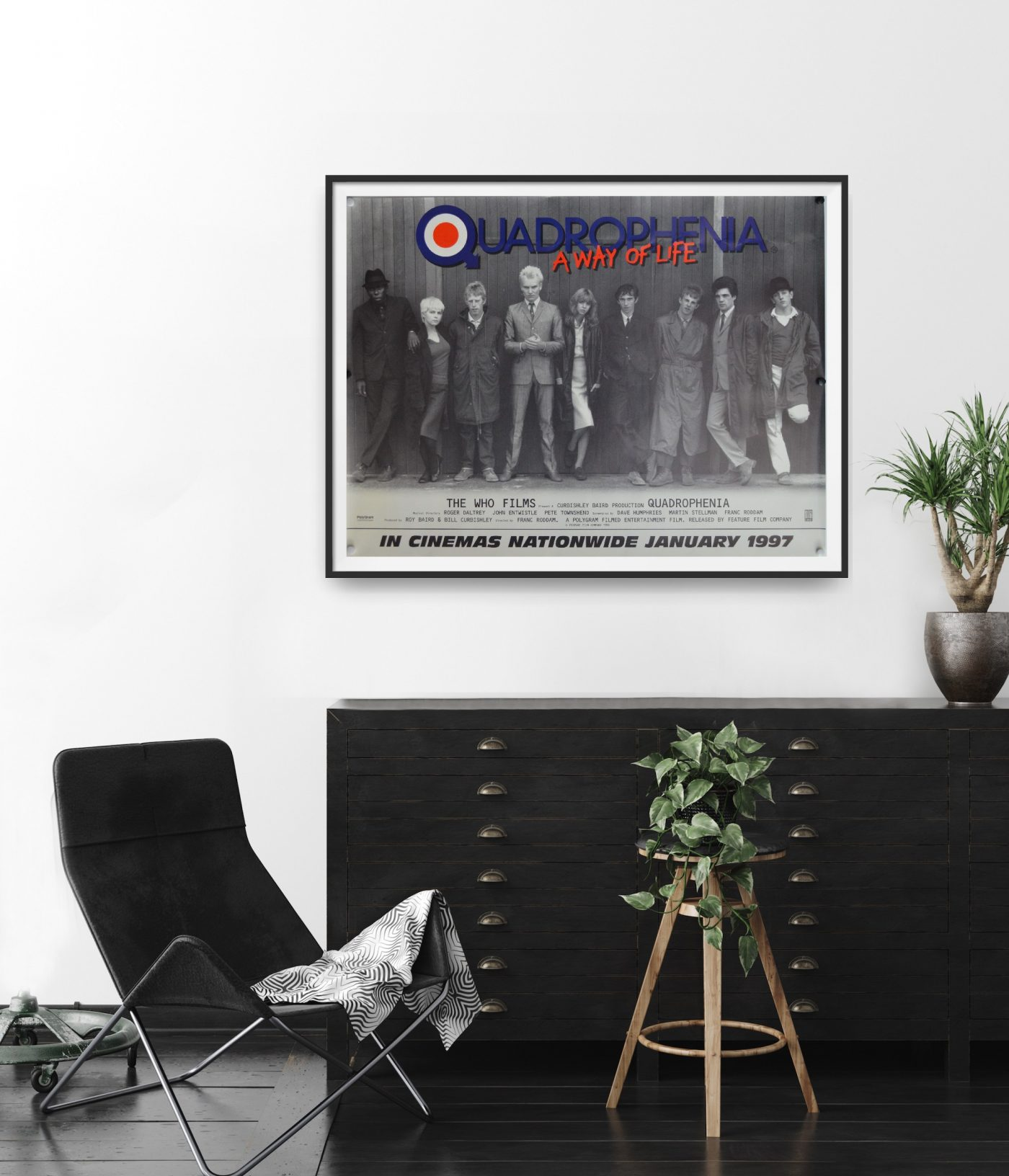 This is a framed cinema poster for the film Quadrophenia hung in a room to show the scale.