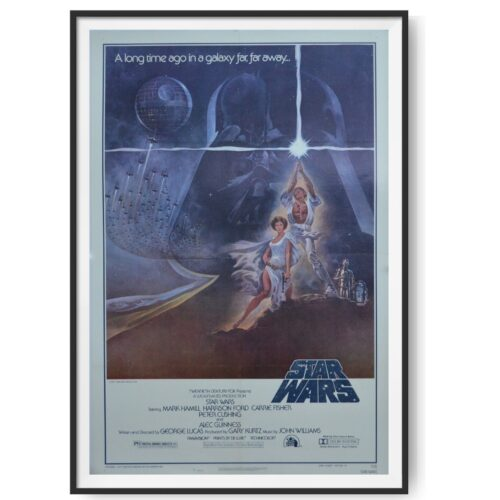 This original poster for the film Star Wars shows . Princess Leia, Luke Skywalker R2-D2 and C-3PO all feature on the poster. A large image of Darth Vader's helmet looms in the background