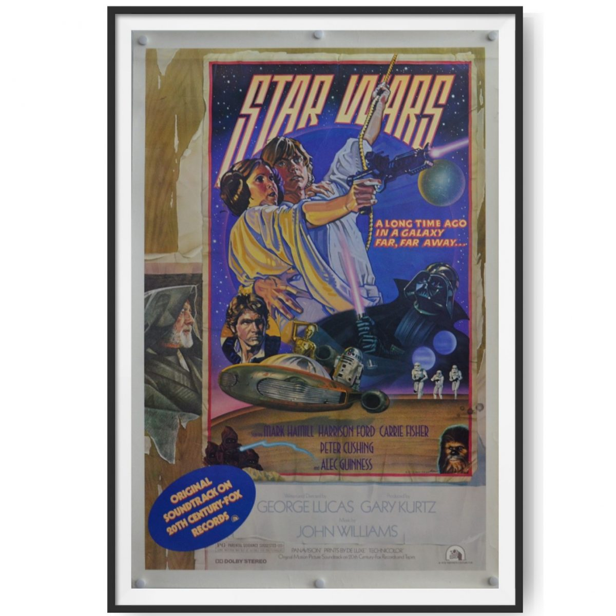 This is a Style D cinema poster for the film Star Wars. Luke Skywalker and Princess Leia feature prominently in the image.