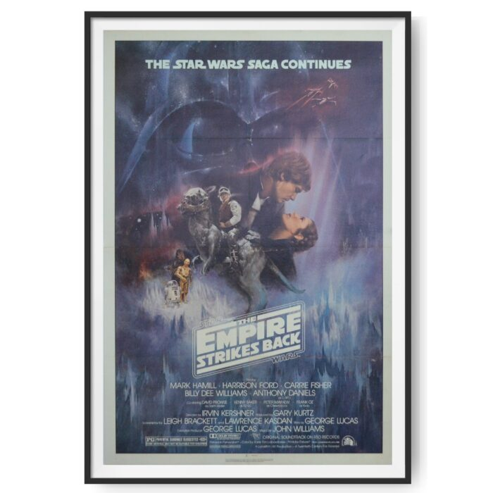 The image in this original Style A One Sheet poster for 'The Empire Strikes Back' shows Hans Solo Kissing Pricess Leia.