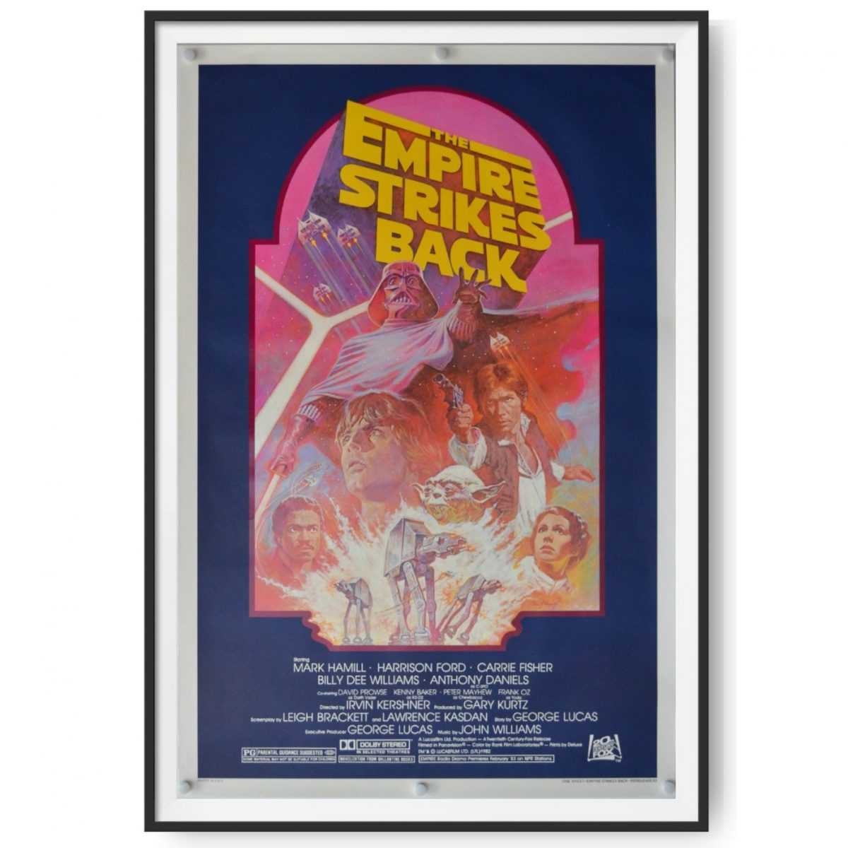 This is US cinema poster for a 1982 re-release of 'The Empire Strikes Back'