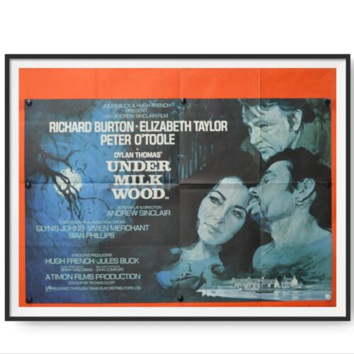 This poster for the film 'Under Milk Wood' shows a painting of Richard Harris, Peter O'Toole and Elizabeth Taylor.