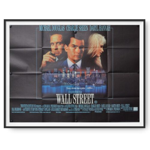 This image for the film Wall Street shows Charlie Sheen, Michael Douglas and Daryl Hannah