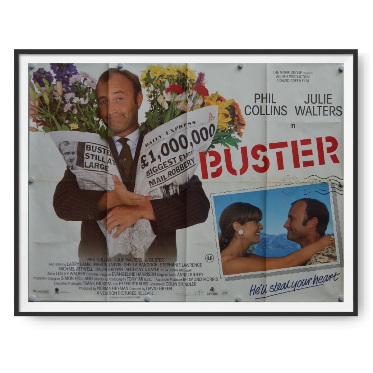 This is an original quad poster for the 1988 comedy Buster. The poster's images show florist turned train robber Buster (Phil Collins).