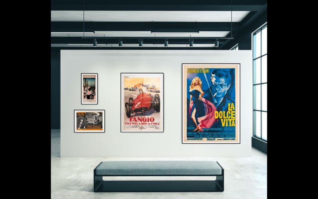 Photo from left to right show an Italian Locandina (top left), Photobusta (bottom left), 2 Foglio and 4 Foglio Cinema Posters to scale.