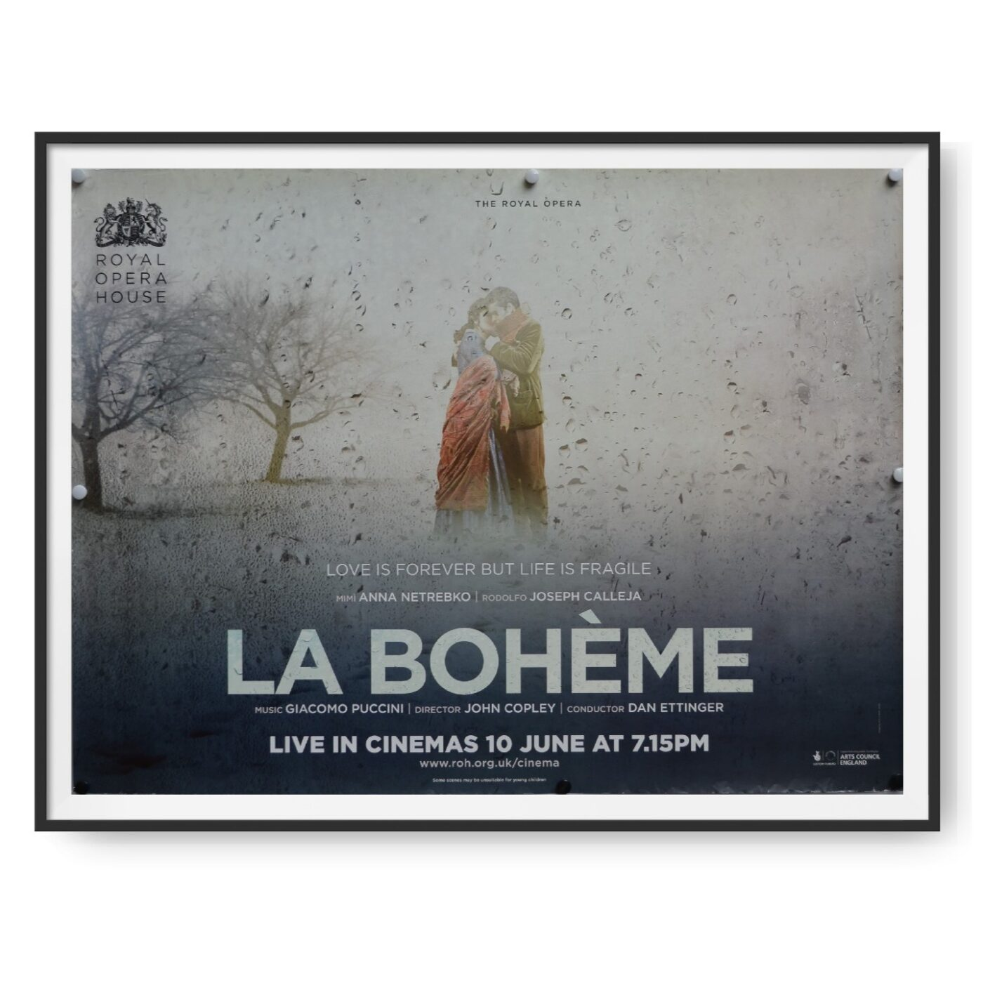 This is an original UK quad poster for a cinema release of the Puccini's Opera La Boheme.