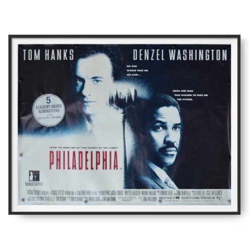 A UK quad poster for the film Philadelphia. Tom Hanks and Denzel Washington can be seen in this image.