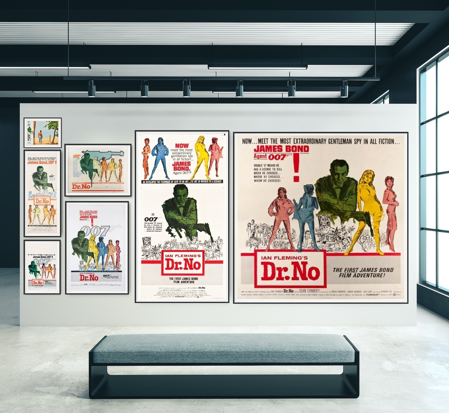 Photo showing lobby card, insert, window card, half sheet, one sheet, three sheet and six sheet cinema poster for the film Dr No. All posters are true to scale.