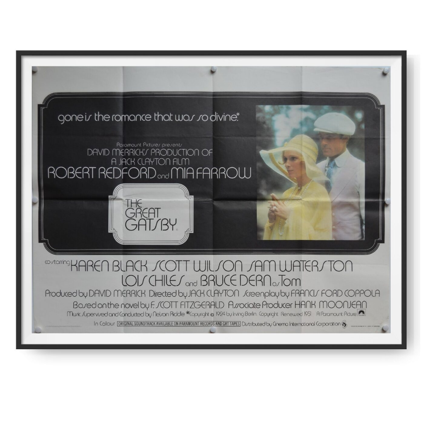Picture shows a UK Quad poster for a 1974 release of the Great Gatsby. Robert Redford and Mia Farrow can be seen on th poster.