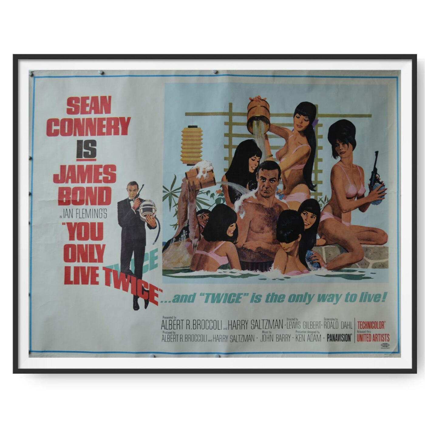 Image shows a US subway cinema poster for You Only Live Twice. It shows Sean Connery as James Bond in a bath