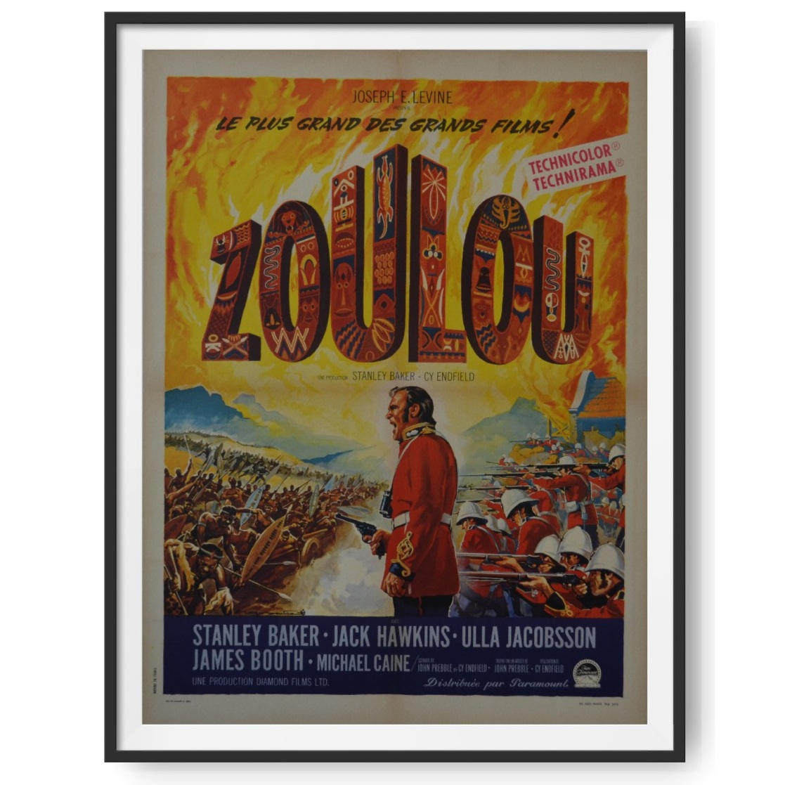 A poster for the 1964 film Zulu, starring Michael Caine.
