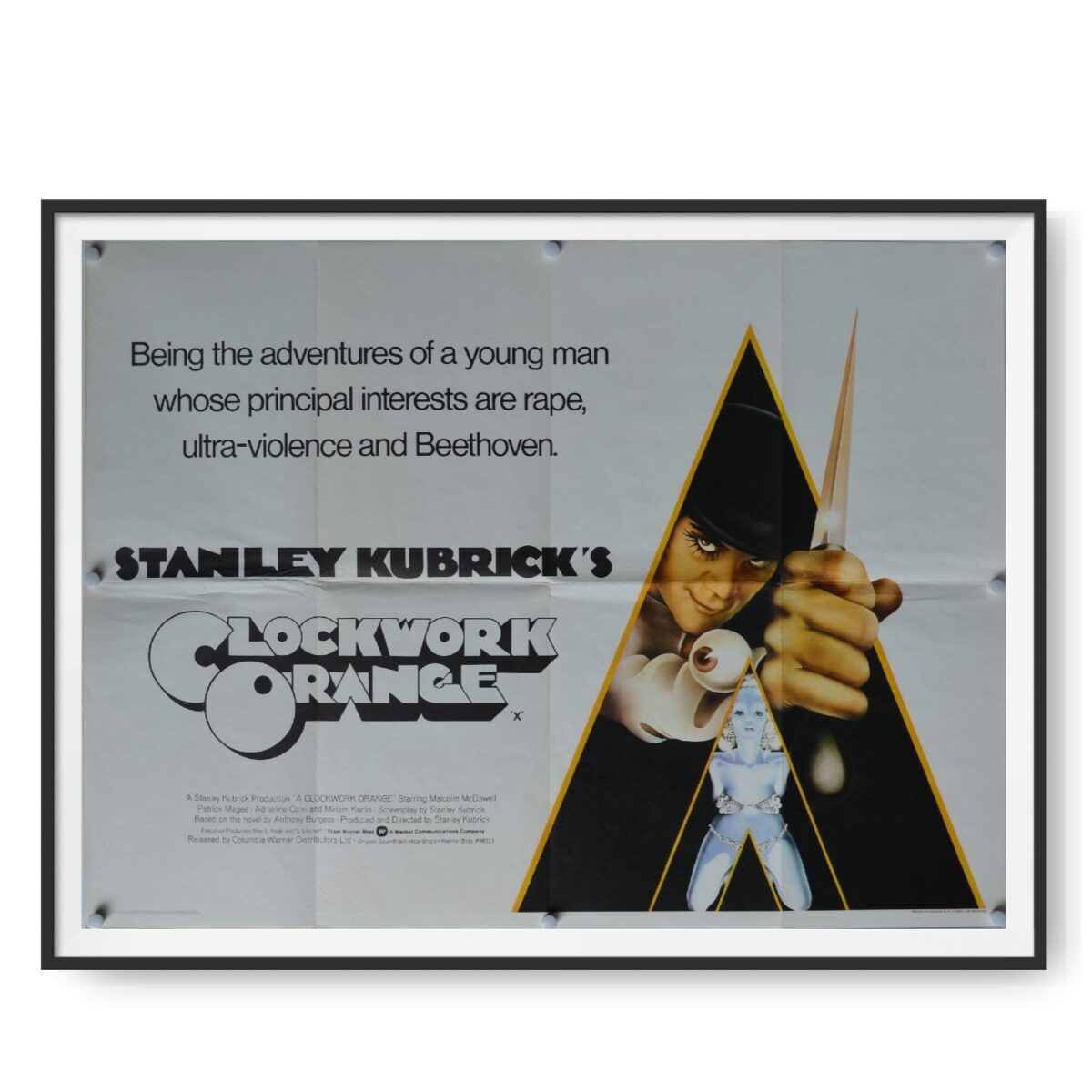 This is an original UK quad poster for the 1971 dystopian crime film directed by Stanley Kubrick ?A Clockwork Orange?.