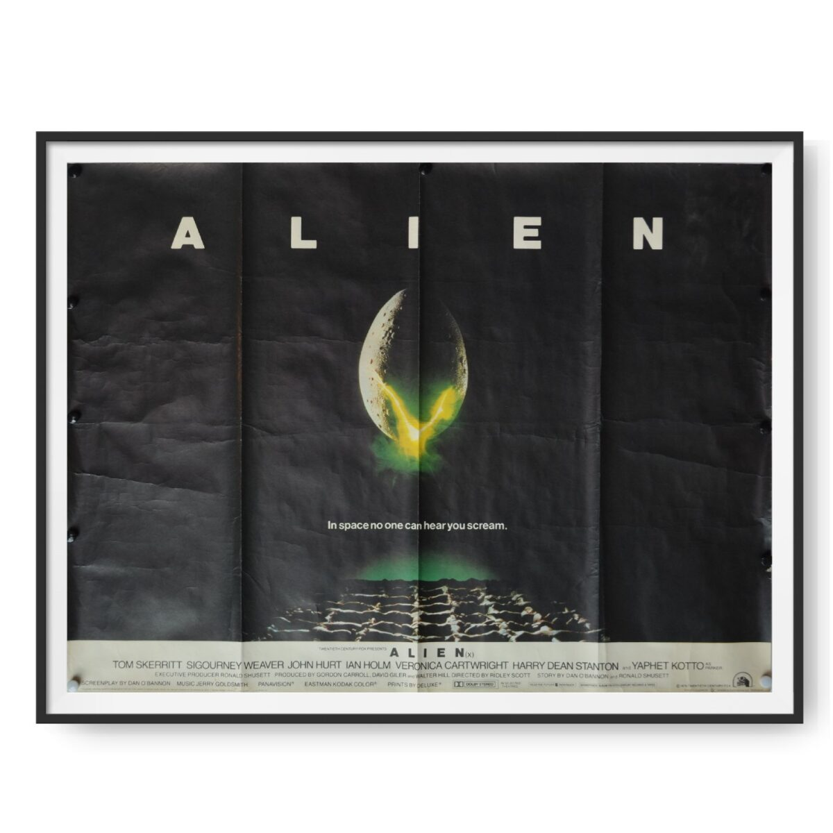 Movie poster for the film Alien shows famous image of cracking egg.