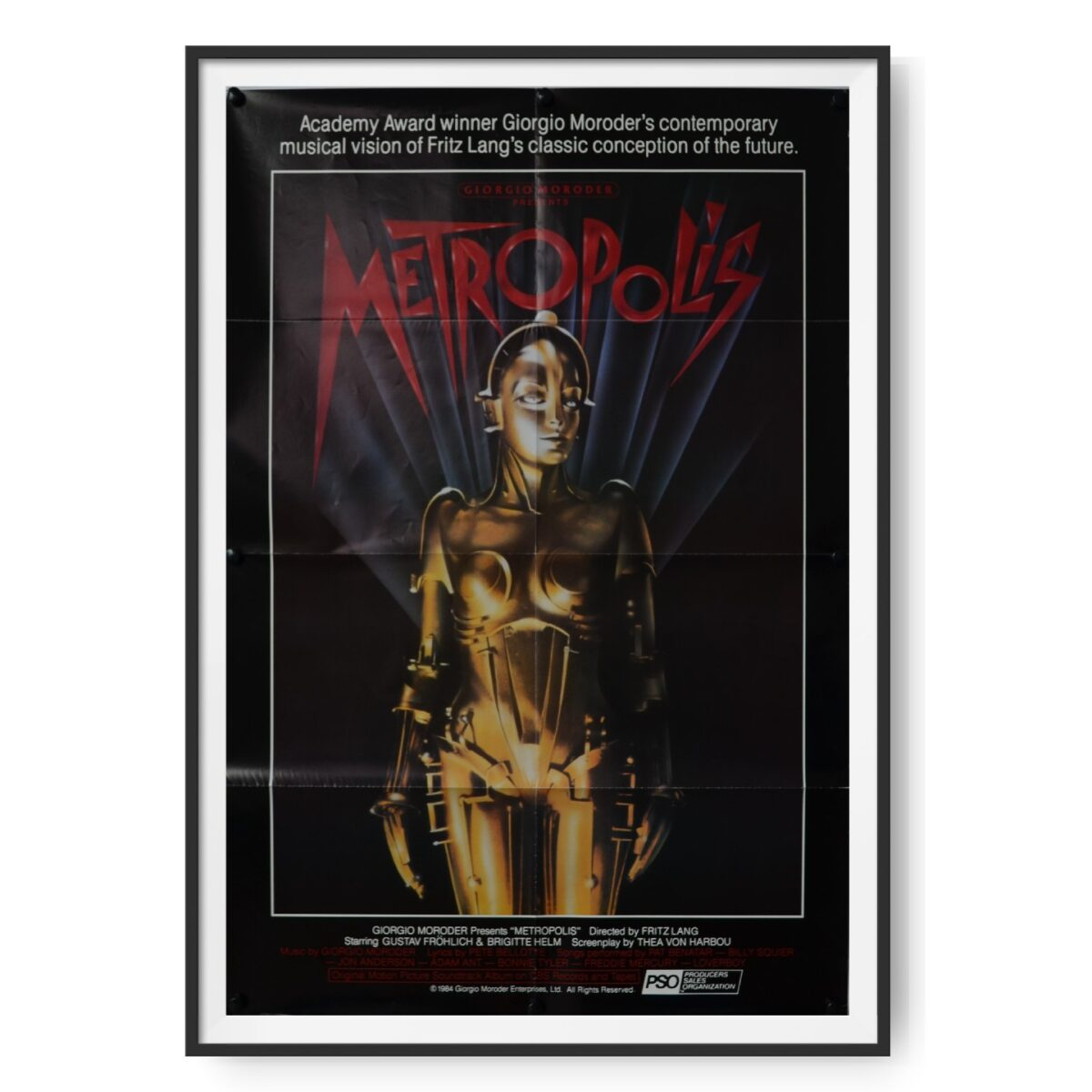 This is an original One sheet poster for a 1984 re-release of the film Metropolis, an expressionist sci-fi drama film directed by Fritz Lang.