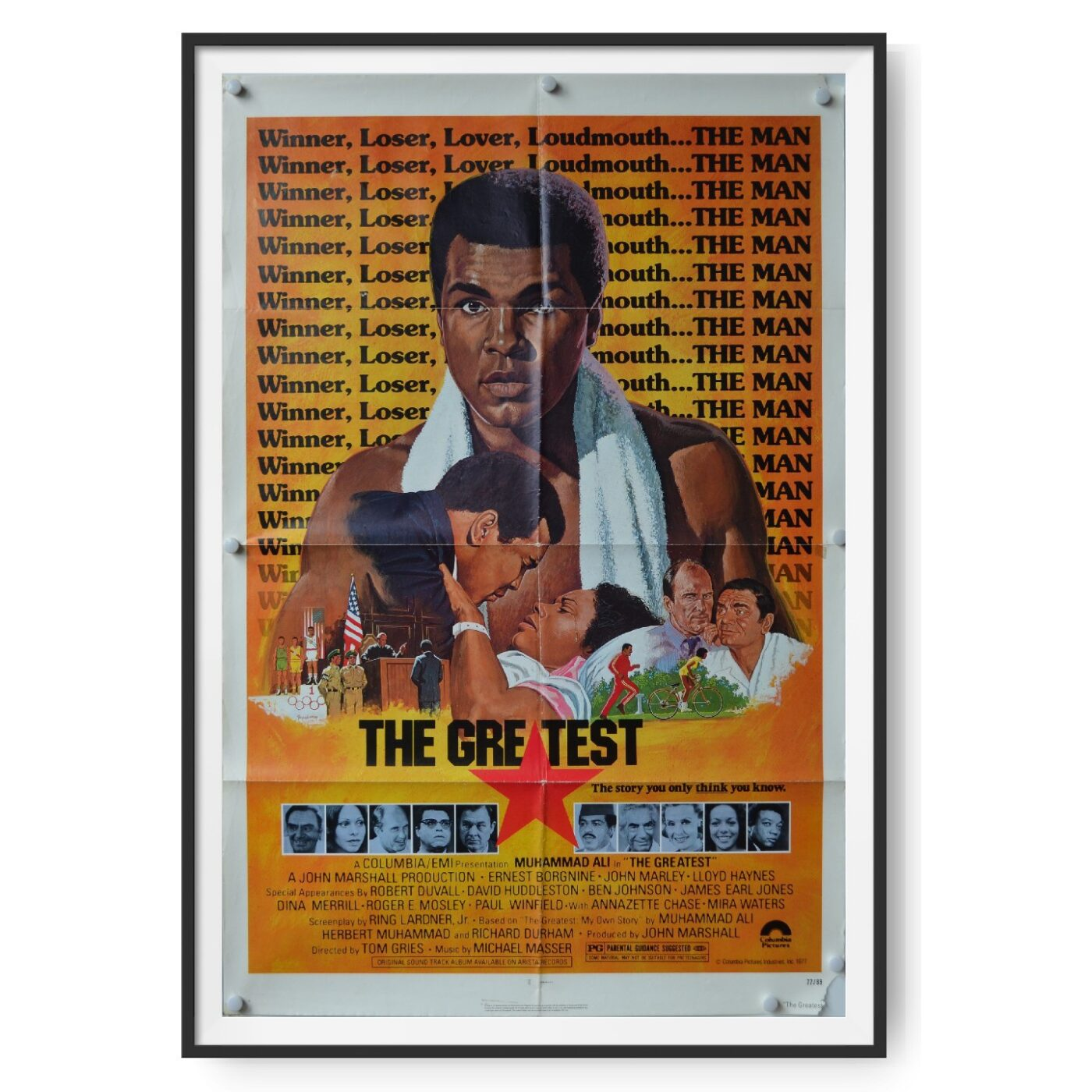 A poster for the Muhammad Ali film 'The Greatest' showing the boxer.