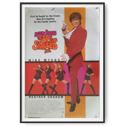 This is an original cinema poster for the 1999 film Austin Powers The Spy Who Shagged Me. Used in US cinemas, it measures 27 x 40 inches.